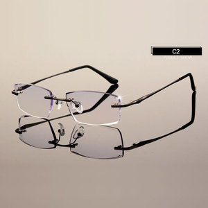 Image 4 - Men Eyewear C001 Diamond Trimming Cutting Rimless Eyeglasses Prescription Optical Glasses Frame for Man Spectacles