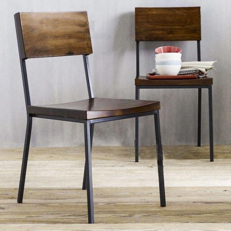 Loft american vintage paese di legno da pranzo sedie for Sedie in ferro e legno