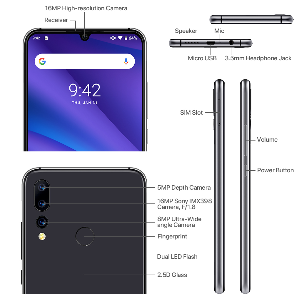 "UMIDIGI A5 Pro Android 9.0 Octa-core 6.3"" Mobile Phone 16MP Triple Camera 4150mAh 4+32GB Global LTE 4G Fingerprint Smartphone"