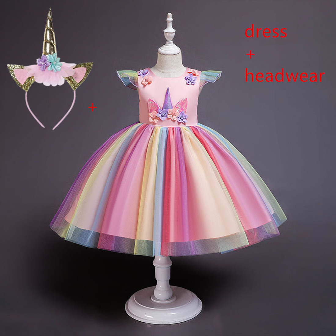 2019 Flower Girls Unicorn Tutu Dress Pastel Rainbow Princess Girls Birthday Party Dress Children Kids Halloween Unicorn Costume
