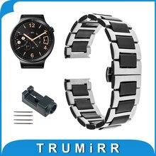 18 мм Керамические и Нержавеющей Стали Ремешок для Huawei Watch Asus ZenWatch 2 женская 45 мм WI502Q Ремешок Бабочка Пряжка Браслет
