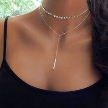 Collier ras du cou simple avec pendant pour femmes, chaîne couleur argent style pièce de monnaie