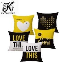 Fashion High Quality Couple LOVE Yellow Geometric Simplicity Car Decorative Throw Pillow Case Cushion Cover Sofa Home Decor