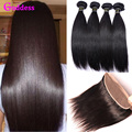 Virgin Brazilian Straight Hair With Closure Brazilian Human Hair Straight 3 BundlesWith 13*4 Ear To Ear Pre-Plucked Lace Frontal
