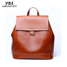 AMONCHY Female Genuine Leather Backpacks Vintage Fashion College Backpack Natural Skin Women's Travelling Backpacks Shoulder Bag