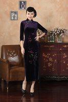 High Quality Purple Chinese Ladies Velvet Cheongsam Qipao Elegant Slim Long Evening Dress Flowers S M