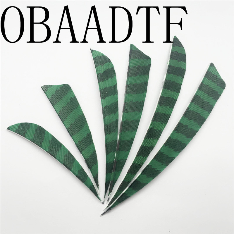 100pcs 3 quot 4 quot 5 quot Water Drop Shield Cut Striped Green Archery Hunting And Shooting Arrow Feather Archery Bow in Bow amp Arrow from Sports amp Entertainment