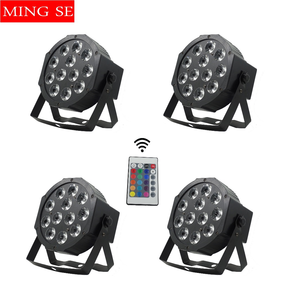 4pcs/lots  12x12w Remote Flat Par Led Flat White Led Par Light 12*12W Smooth RGBW Color Mixing DMX 4/8 Channels Stage Wash