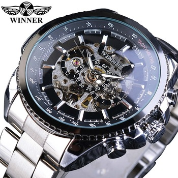 Winner Sport Design Bezel Golden Watch Mens Watches Top Brand Luxury Montre Homme Clock Men Steampunk Automatic Skeleton Watch classic dual movement design automatic quartz watches clock mens watches top brand luxury watch men skeleton wrist watch
