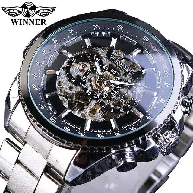 Мужские наручные часы Winner Sport, дизайнерские золотые часы с ободком, роскошные часы от топ бренда Montre Homme, Мужские автоматические часы в стиле стимпанк со скелетом