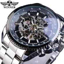 Zwycięzca wzór sportowy Bezel złoty zegarek męskie zegarki Top marka luksusowy zegar Montre Homme mężczyźni Steampunk automatyczny zegarek ze szkieletem