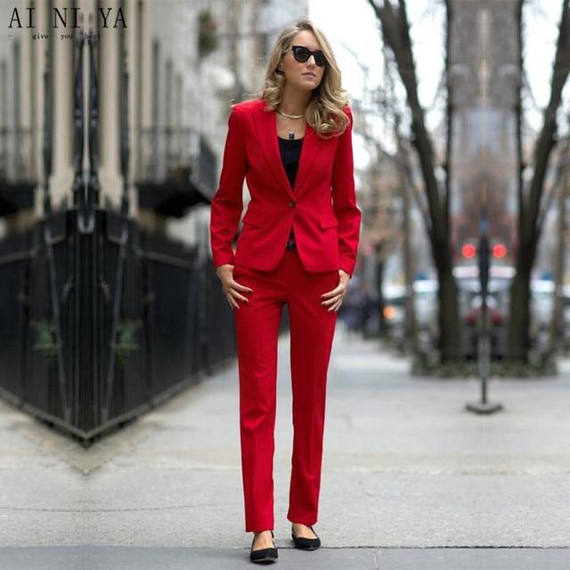 0414254d62e9a Trajes de pantalón de mujer rojo para Mujeres de Negocios esmoquin de  oficina por encargo Formal