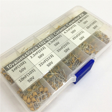 500pcs 10Valuesx50 1nF~68nF (102~683) Multilayer/Monolithic Ceramic Capacitor Assorted kit with storage box