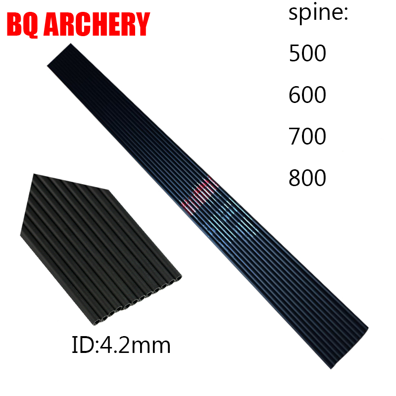 12pcs Pure Carbon Arrows Shaft ID4 2mm 30inch spine500 800 for Compound Traditional Recurve bow Hunting