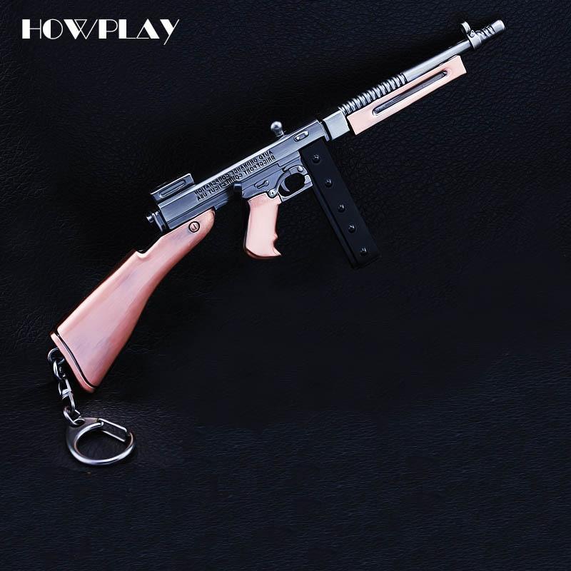 HowPlay Playerunknowns Battlegrounds Game Keychain metal toy gun Mini Thomson submachine gun boy war toy boyfriend gift