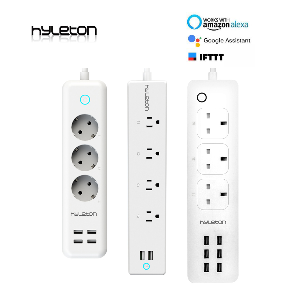 Hyleton wifi USB Power Strip smart US plug Overload Switch Surge Protector 4 Outlet 2 Port USB Charger 2m 15A wifi socket portable travel power strip surge protector with 4 smart usb ports multi port wall charger desktop hub charger socket qj
