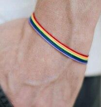 Rainbow Lesbian Lesbians Pride Gay Pride Woven Braided Rope String Strand Friendship Bracelet Exquisite Wristlet braided strand bracelet watch