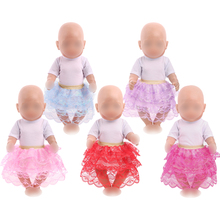 Dolls clothes American white T-shirt + lace cake skirt Dress toy accessories fit 43 cm baby and 18 inch Girl f740 1 set 18 american girl doll clothes and accessories white shirt and flower trousers 18 inch american girl dolls clothes ingbaby