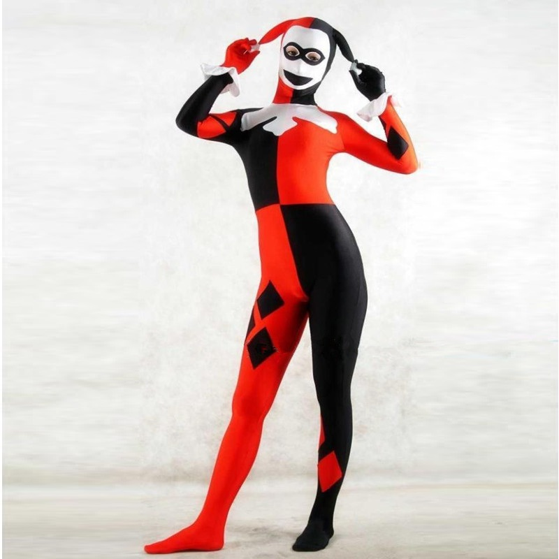 US $42.98 40% OFF|High Quality Womens Adult Halloween Harley Quinn Clown  Cosplay Costumes Zentai Lycra SuperHero Costume Suit Plus Size XXS 6XL-in  ...