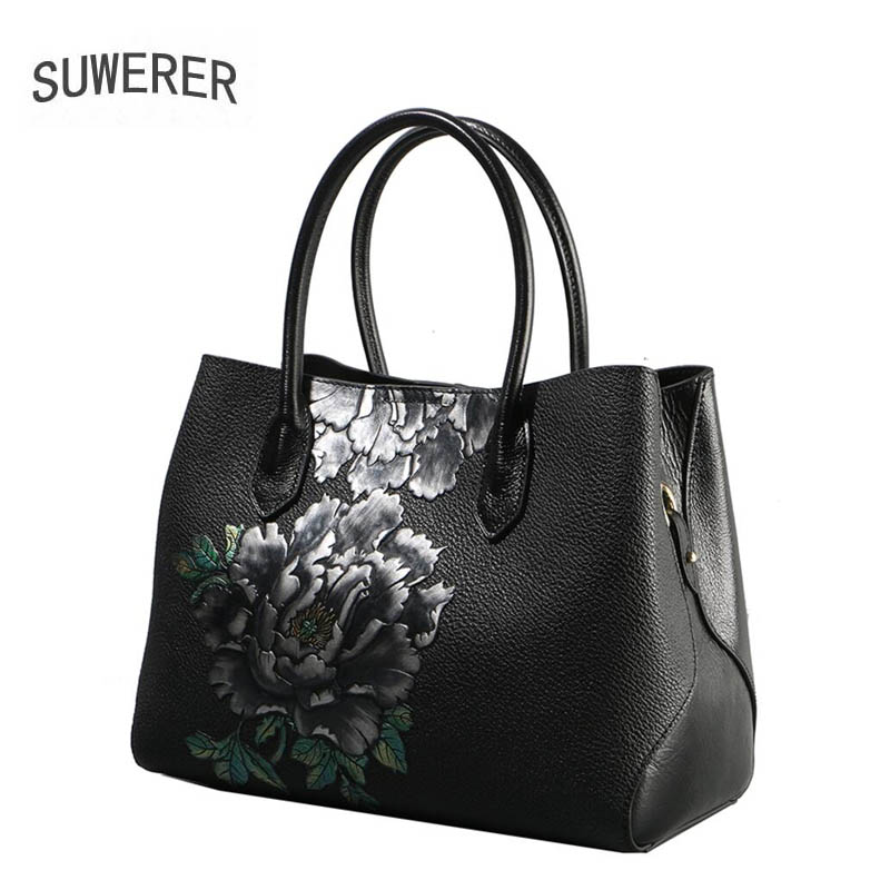 SUWERER brand bag 2018 new original banquet luxury printed shoulder Messenger bag Leather fashion handbag large