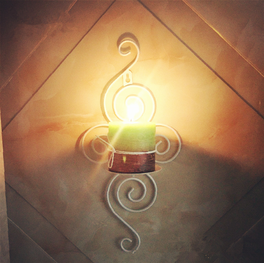2018 Candelabrum Candlestick Holders Handmade Iron Hanging Wall Lamp ...