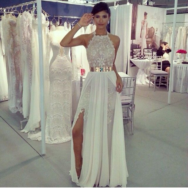 aliexpress buy high neck lace white prom dress with