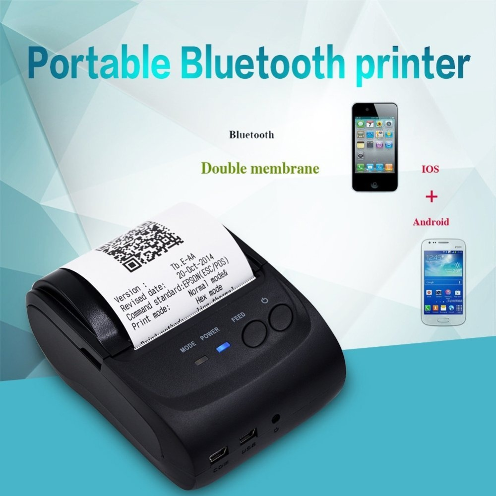 цена Mini Bluetooth Printer Thermal Receipt Printer 58mm Pocket Printer POS Thermal Receipt Printer For IOS Android Windows AU Plug