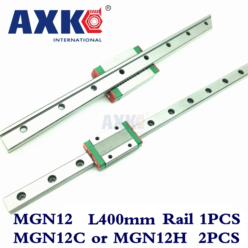Cnc Router Parts AXK Linear Rail 1pc 12mm Width 400mm Mgn12 Linear Guide Rail + 2pc Mgn Mgn12c or MGN12H Blocks Carriage Cnc 3d print parts cnc mgn7c mgn12c mgn15c mgn9c mini linear rail guide 1pc mgn linear rail guide 1pc mgn slider