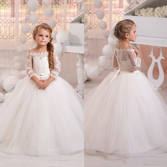 5e1b7123db5 New White Ivory Flower Girls Dresses for Wedding Lace Puffy Tulle Off  Shoulder Half Sleeves Little Girls First Communion Dress