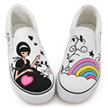HOT SALE Lacing low breathable shoes colored drawing lovers flat shoes cotton-made hand-painted Canvas shoes