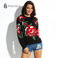 Vintacy Women Sweaters and Pullovers Black Knitting Print Floral Jumper Autumn O Neck Long Sleeve Knitted Casual Women Sweater
