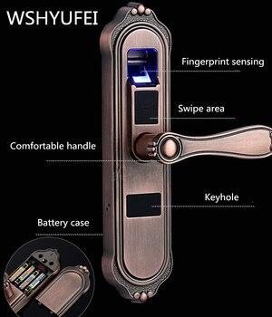 WSHYUFEI биометрический замок отпечатков пальцев, интеллектуальный замок безопасности с паролем отпечатков пальцев RFID разблокировка, дверной ...