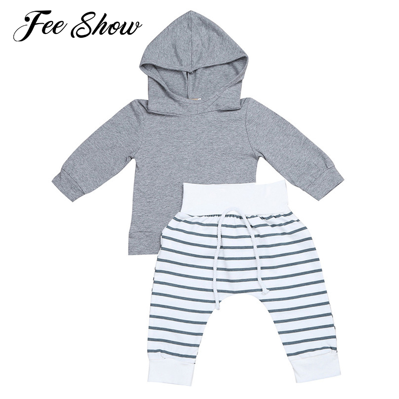 2PCS Infant Baby Boys Outfits Set Long sleeves Hooded Tops with Striped Pants Set for party photos or daily wear SZ 0-12 Months