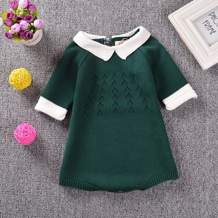 e5149fe86 New 2016 Winter Baby Dress Cotton Knit Crochet Baby Girl Romper Kids ...