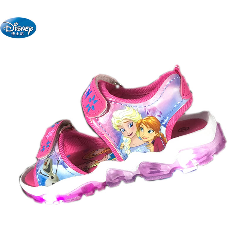 Disney Frozen  Elsa And Anna Princess Sandals With New  LED Light 2108 Kids Snow Shoes Europe Size 20-31