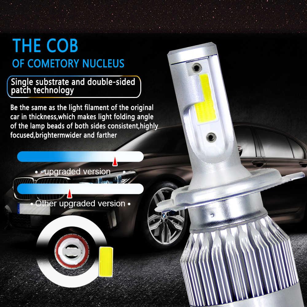 2pcs C6 LED Car Headlights 72W 7600LM COB Auto Headlamp Bulbs H1 H3 H4 H7 H11 880 9004 9005 9006 9007 Car Styling Lights