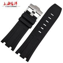Натуральный каучук wacthband, 28 мм ретро черный силиконовый ремешок для королевской дерево ремень, Для ap резиновые Wacthband