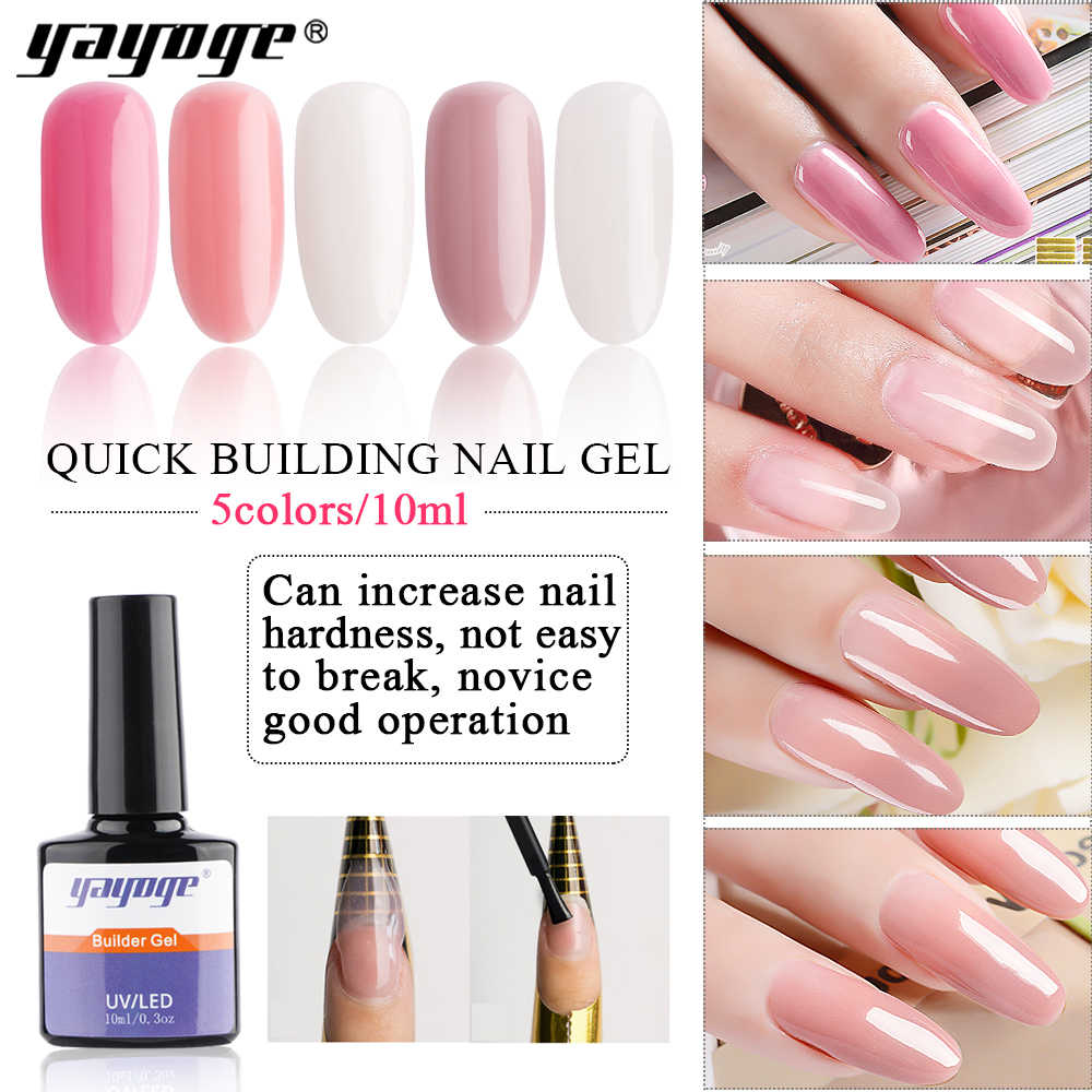 Yayoge 10ml 0.3OZ UV Builder Gel Tasteless not hot not hurt Nail Gel Varnish Nail Art Polygel Semi Permanent Gel Polish