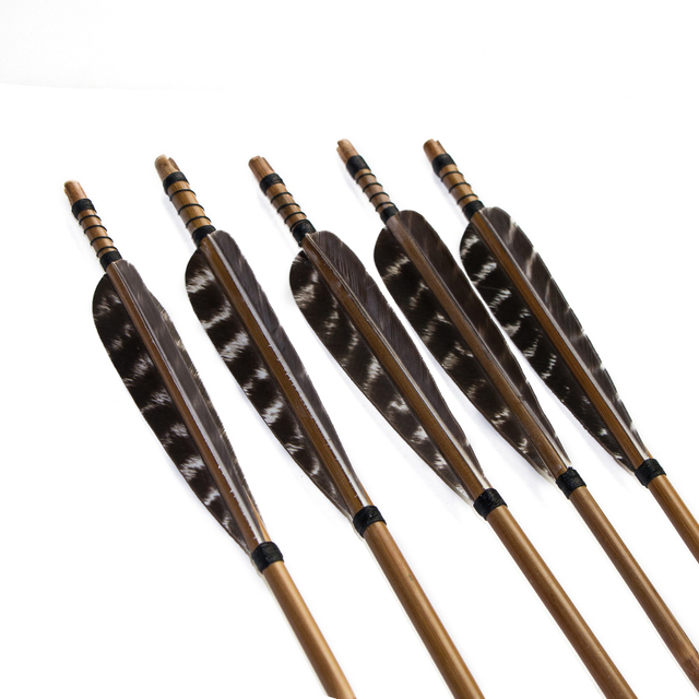 """5pcs 400 spine 33"""" archery bamboo arrow w/5"""" pheasant arrow feather&target field arrow point for takedown bow or compound bow"""
