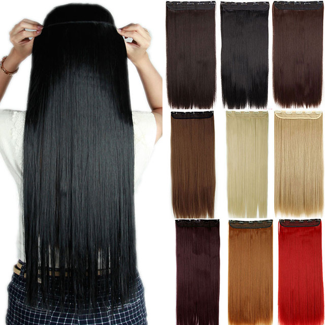 SNOILITE 30inch to hip Clip in Hair Extensions 3 4 Full Head 5 Clips Hair  Extention Synthetic Real Natural Hairpiece for women 76568adab8