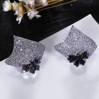 אופנה חדשה גבירותיי כיכר stud עגיל זהב לבן תכשיטי עגילי פרפר CZ הגדרת צבע שחור ולבן לנשים