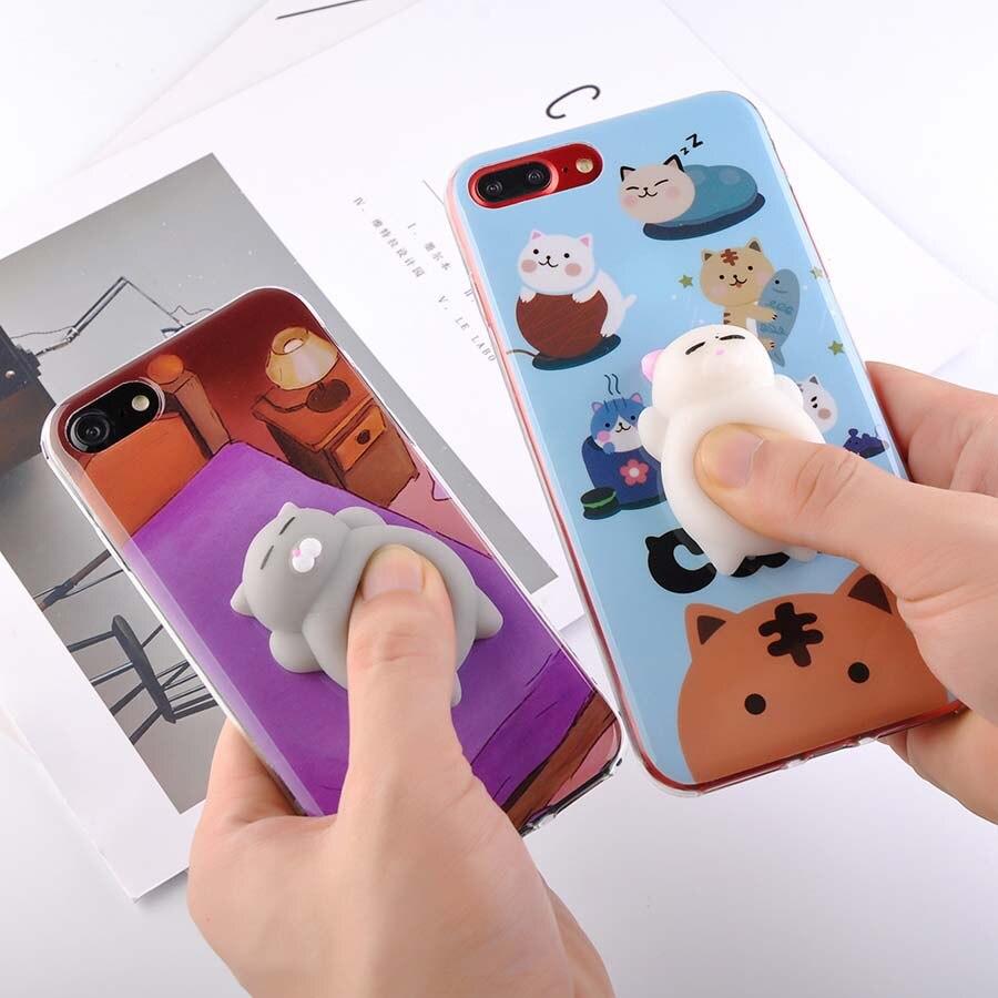 Squishy 3d cat phone case - Squishy Squeeze Cat Phone Cases For Iphone 7 6 6s Plus Case 3d Cute Pappy Squishi