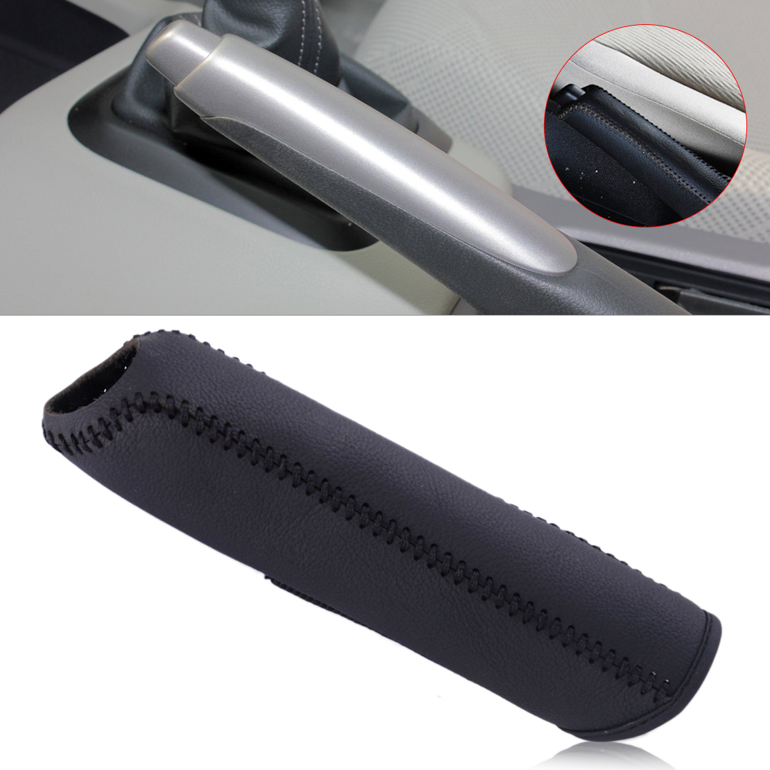 DWCX Fashion Car Black Leather Hand Brake Stitching Cover Protective Sleeve For Honda Civic 2004 2005 2006 2007 2008 2009 - 2011
