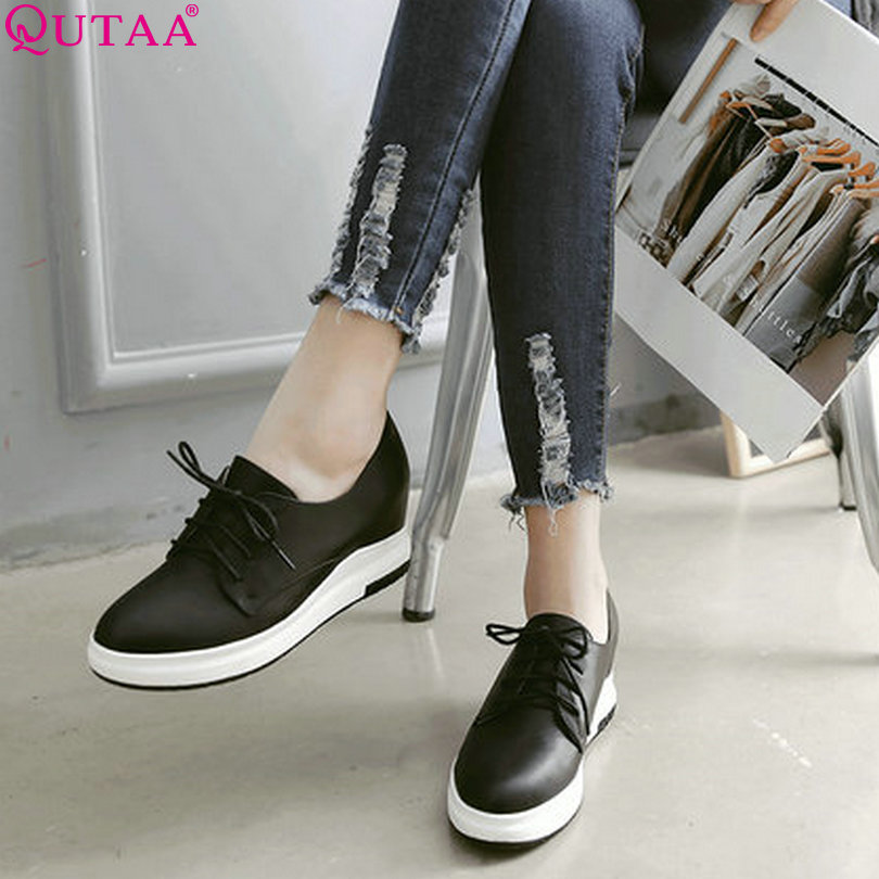 ФОТО QUTAA 2017 Women Pumps Summer Increased Internal Ladies Shoe Wedge High Heel Platform Lace Up Woman Wedding Shoes Size 34-43