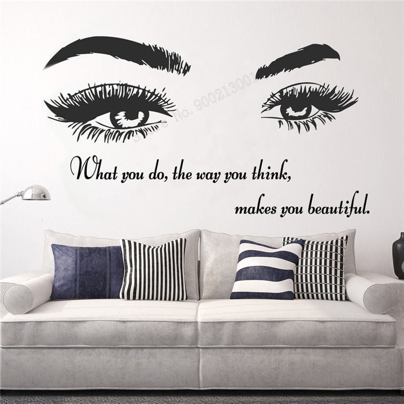 Wall Art Sticker Makes You Beautiful Decor Eyelashes Lashes Extensions Decoration Poster Beauty Salon Eye Mural Quotes LY386 in Wall Stickers from Home Garden