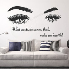 Wall Art Sticker Makes You Beautiful Decor Eyelashes Lashes Extensions Decoration Poster Beauty Salon Eye Mural Quotes LY386