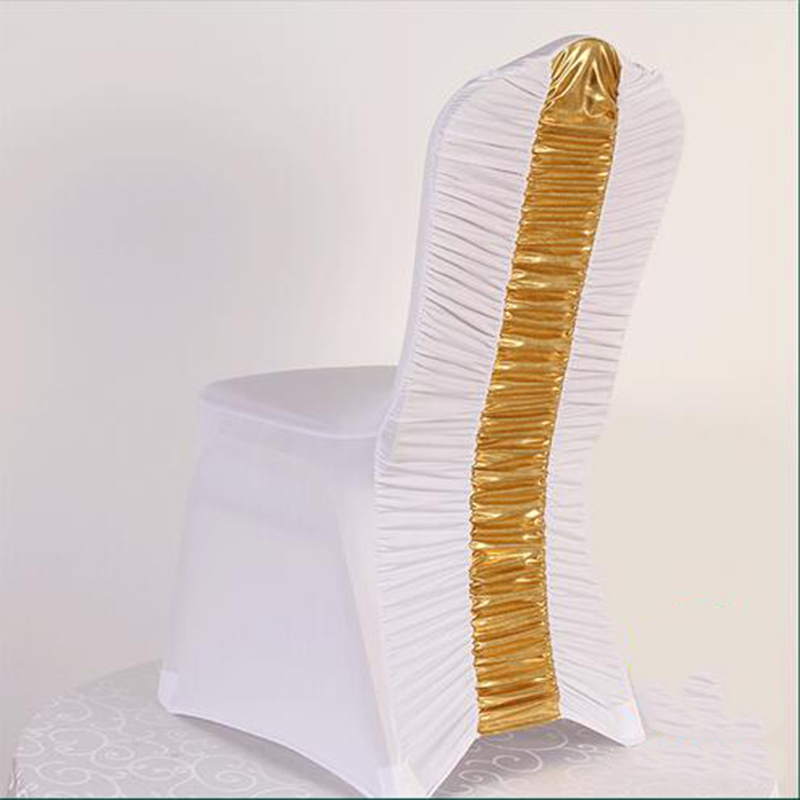 Universal white with gold silver 100 spandex wedding for Chair 9 hotel