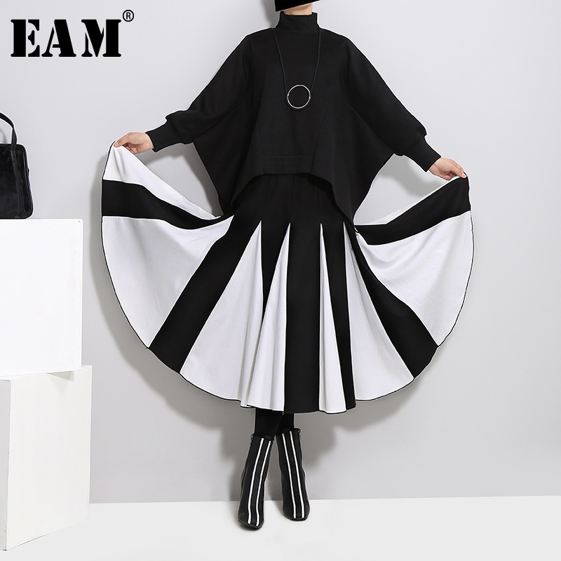 [EAM]2018 New Summer High Waist Solid Color Black White Split Joint Loose Pleated Half-body Skirt Women Fashion All-match JD369