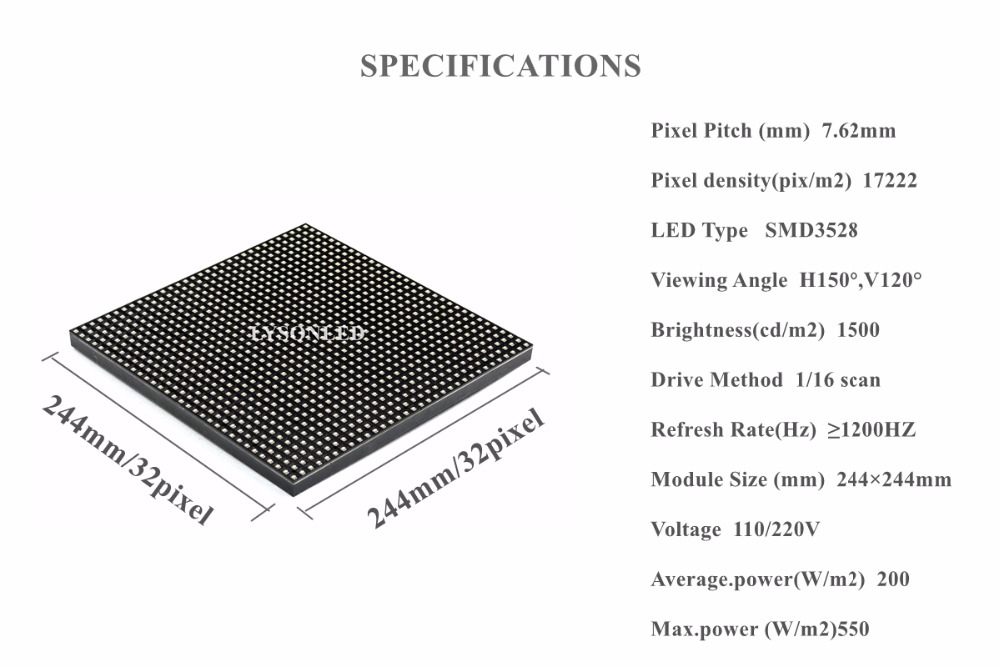 Купить с кэшбэком LYSONLED P7.62 Indoor SMD 32x32 Pixels RGB  Display Module 244x244mm 1/16 Scan   SMD3528   Video