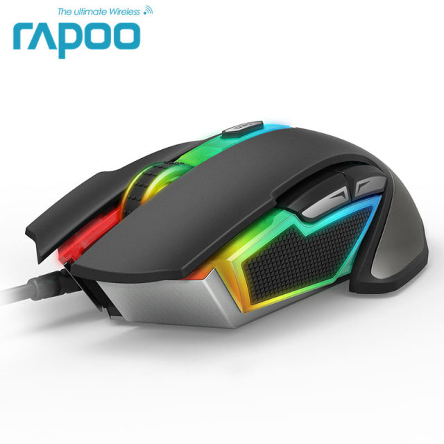 702a589a91e New Rapoo V302 7000 DPI 7 Programmable Buttons Optical Sensor P3320  Backlight Optical Gaming Mouse for